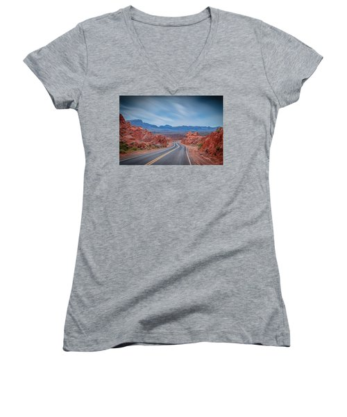 Into The Valley Of Fire Women's V-Neck T-Shirt (Junior Cut) by Mark Dunton