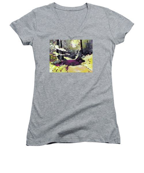 Women's V-Neck T-Shirt (Junior Cut) featuring the painting Into The Woods 2 by Anil Nene