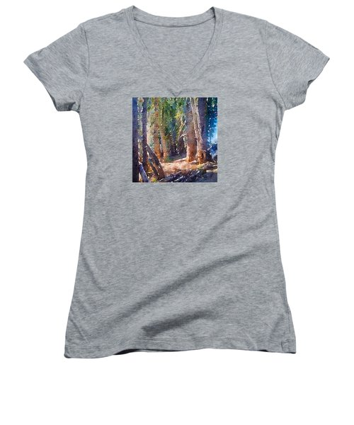 Women's V-Neck T-Shirt (Junior Cut) featuring the photograph Into The Woods Again by Ronda Broatch