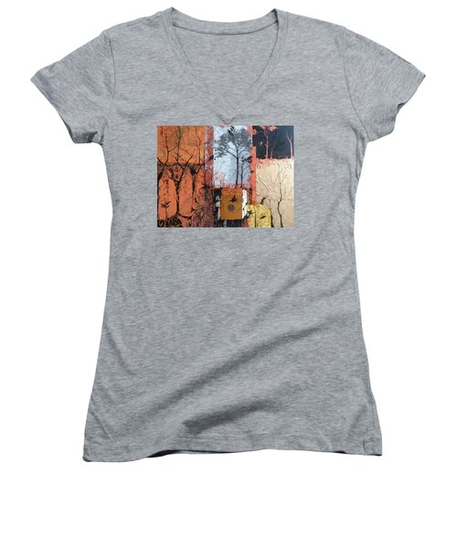 Women's V-Neck T-Shirt (Junior Cut) featuring the mixed media Into The Woods by Pat Purdy