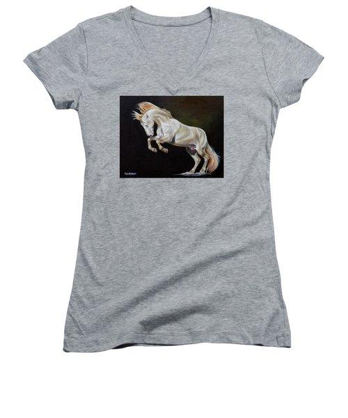 Intrepid Women's V-Neck T-Shirt (Junior Cut) by Phyllis Beiser