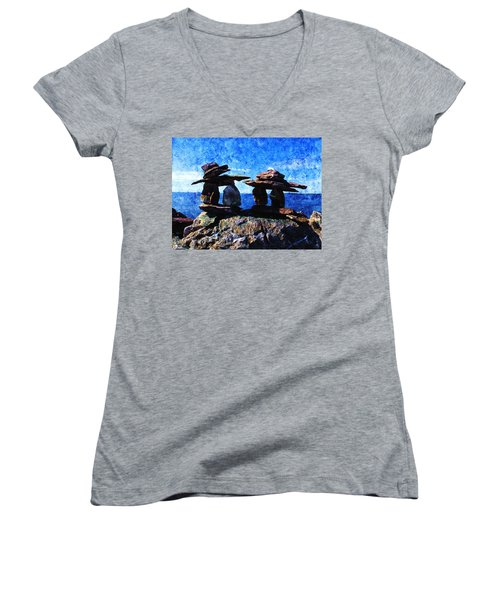Women's V-Neck T-Shirt (Junior Cut) featuring the photograph Inukshuk by Zinvolle Art