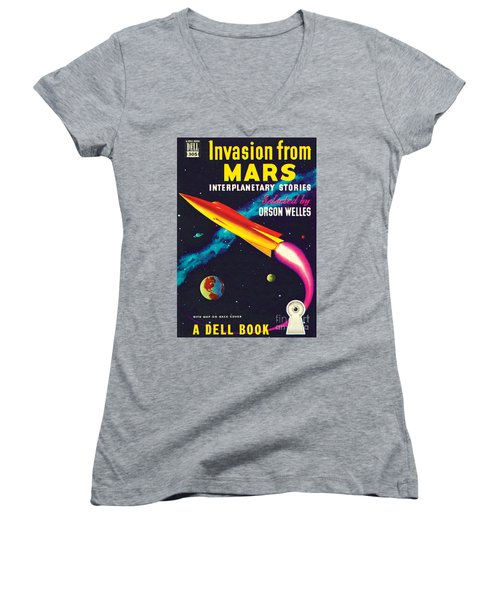 Women's V-Neck T-Shirt (Junior Cut) featuring the painting Invasion From Mars by Malcolm Smith