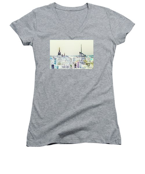 Women's V-Neck T-Shirt featuring the photograph Inversion Layer by Alex Lapidus