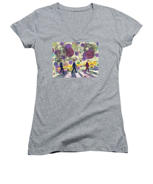 Invisible Men With Balloons Women's V-Neck T-Shirt (Junior Cut)