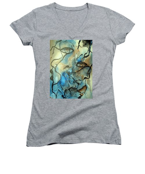 Women's V-Neck T-Shirt (Junior Cut) featuring the painting Inward Vision by Raymond Doward