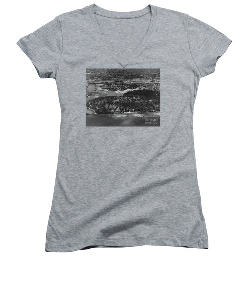 Inwood Hill Park Aerial, 1935 Women's V-Neck T-Shirt (Junior Cut) by Cole Thompson