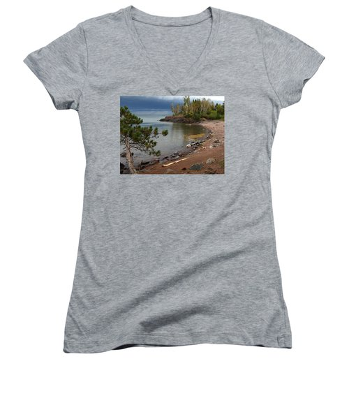 Women's V-Neck T-Shirt (Junior Cut) featuring the photograph Iona's Beach by James Peterson