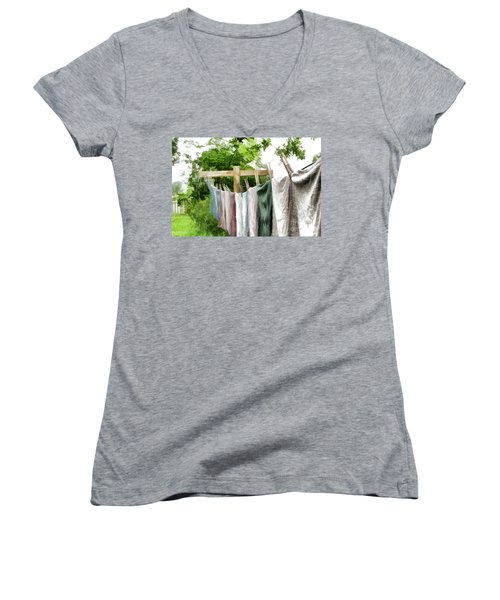 Women's V-Neck T-Shirt (Junior Cut) featuring the photograph Iowa Farm Laundry Day  by Wilma Birdwell