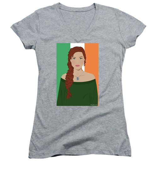Women's V-Neck T-Shirt featuring the digital art Ireland by Nancy Levan