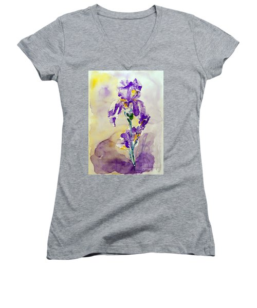 Women's V-Neck T-Shirt (Junior Cut) featuring the painting Iris 2 by Jasna Dragun