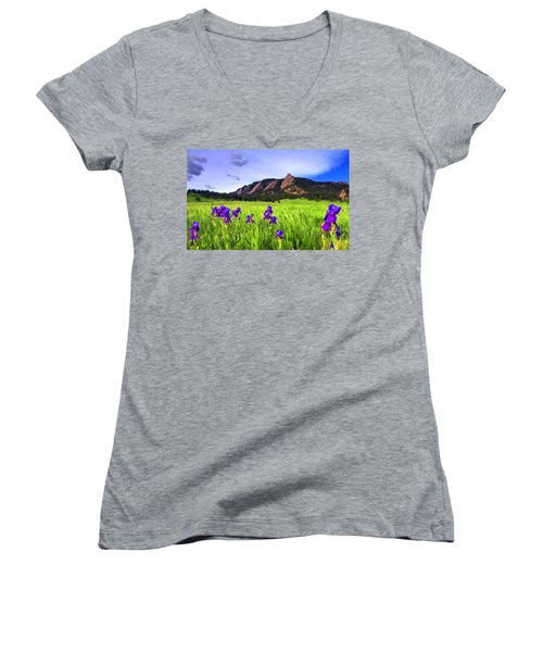 Iris And Flatirons Women's V-Neck T-Shirt (Junior Cut) by Scott Mahon