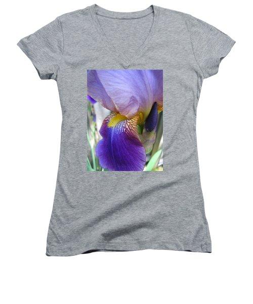 Iris Blossom And Bud Women's V-Neck T-Shirt