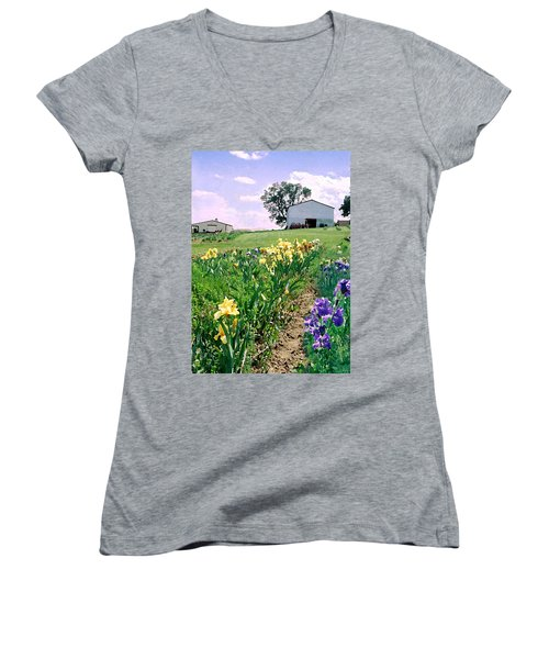 Women's V-Neck T-Shirt (Junior Cut) featuring the photograph Iris Farm by Steve Karol
