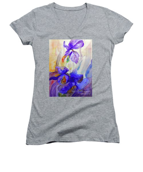 Women's V-Neck T-Shirt (Junior Cut) featuring the painting Iris by Jasna Dragun