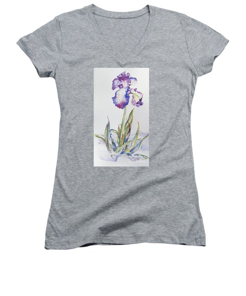 Women's V-Neck T-Shirt (Junior Cut) featuring the painting Iris Passion by Mary Haley-Rocks