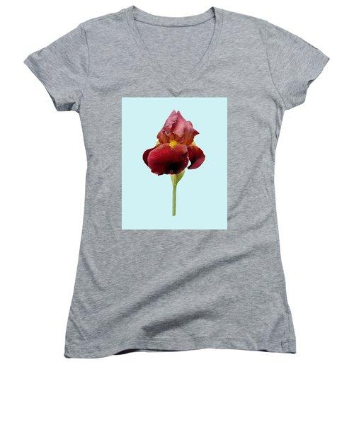 Women's V-Neck T-Shirt (Junior Cut) featuring the photograph Iris Vitafire Blue Background by Paul Gulliver