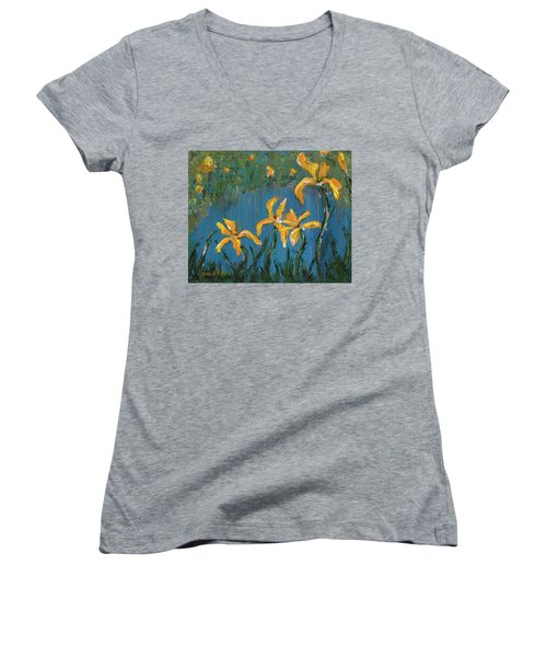 Women's V-Neck T-Shirt featuring the painting Irises by Jamie Frier