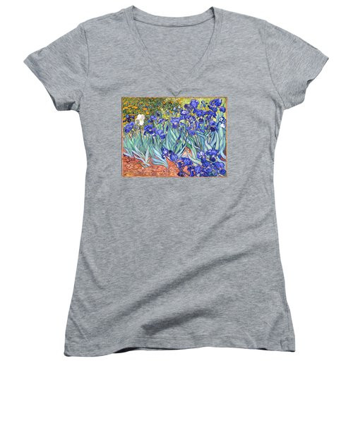 Women's V-Neck featuring the painting Irises by Van Gogh