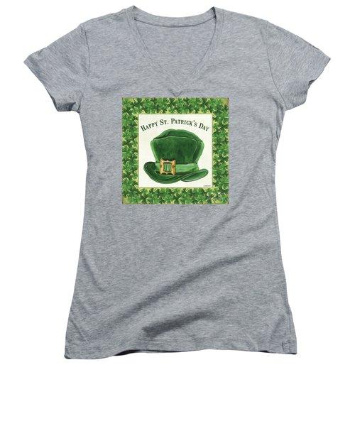Women's V-Neck T-Shirt (Junior Cut) featuring the painting Irish Cap by Debbie DeWitt
