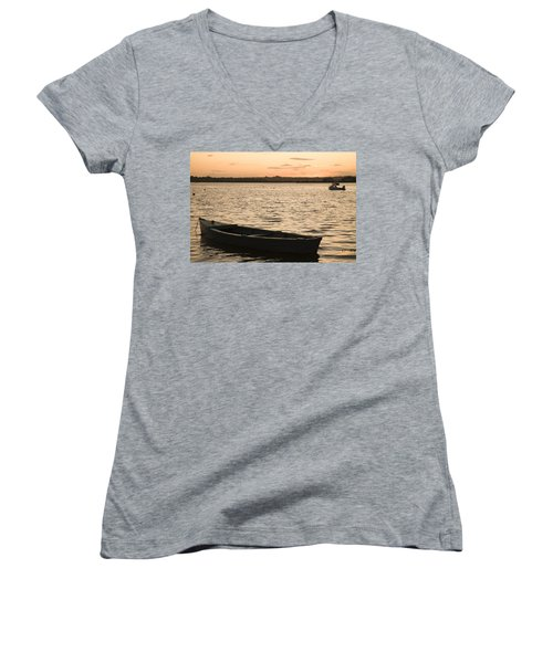 Women's V-Neck T-Shirt (Junior Cut) featuring the photograph Irish Dusk by Ian Middleton