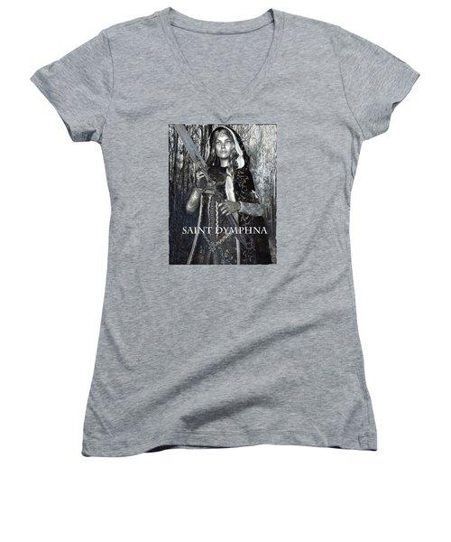 Women's V-Neck T-Shirt (Junior Cut) featuring the painting Irish Light Saint Dymphna by Suzanne Silvir