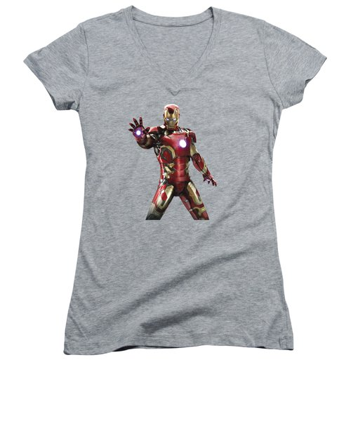 Women's V-Neck T-Shirt (Junior Cut) featuring the mixed media Iron Man Splash Super Hero Series by Movie Poster Prints