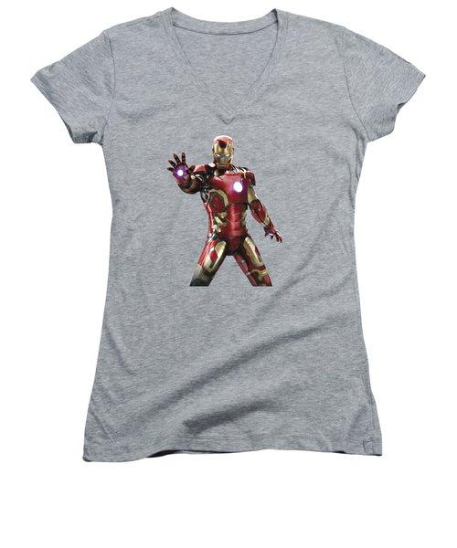 Iron Man Splash Super Hero Series Women's V-Neck (Athletic Fit)