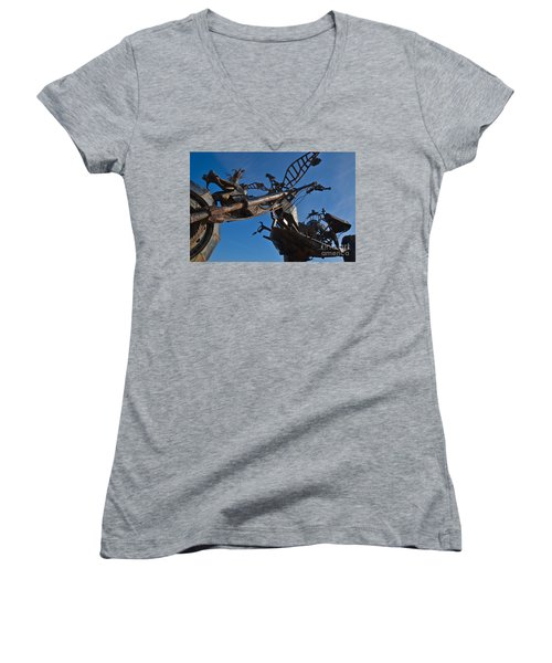 Iron Motorcycle Sculpture In Faro Women's V-Neck T-Shirt