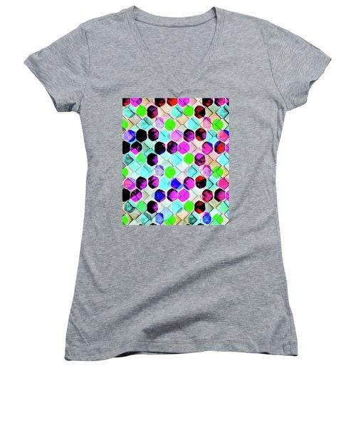 Irregular Hexagon Women's V-Neck T-Shirt