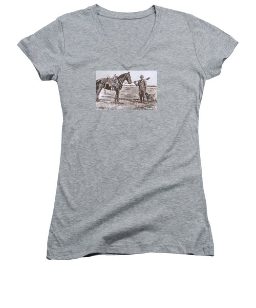 Women's V-Neck T-Shirt (Junior Cut) featuring the painting Irrigating The Hay Meadows Historical Vignette by Dawn Senior-Trask