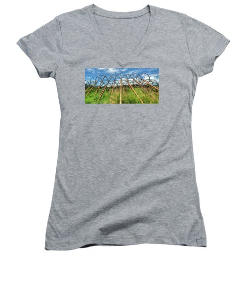 Irrigation Pipes 1 Women's V-Neck T-Shirt (Junior Cut) by Jerry Sodorff