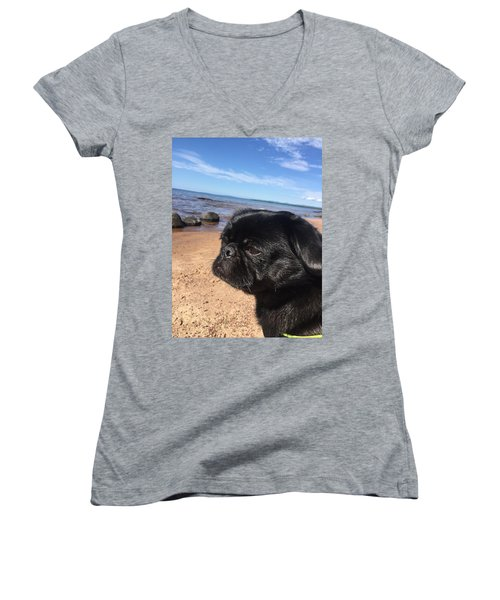 Is This My Good Side? Women's V-Neck T-Shirt (Junior Cut) by Paula Brown