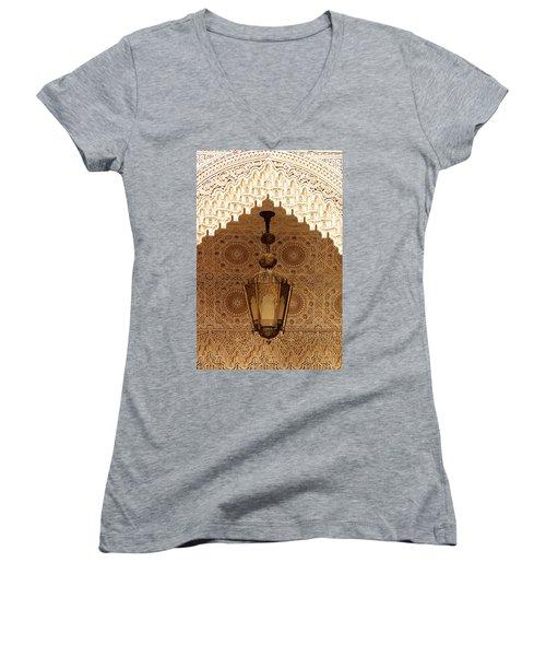 Islamic Plasterwork Women's V-Neck T-Shirt (Junior Cut) by Ralph A  Ledergerber-Photography