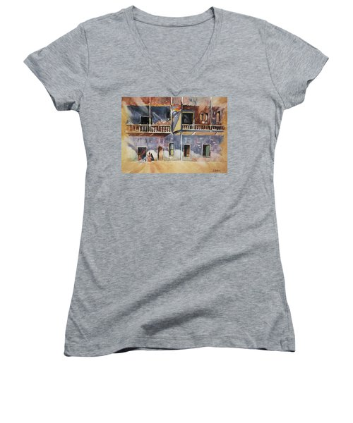 Island Community Women's V-Neck T-Shirt (Junior Cut) by Al Brown