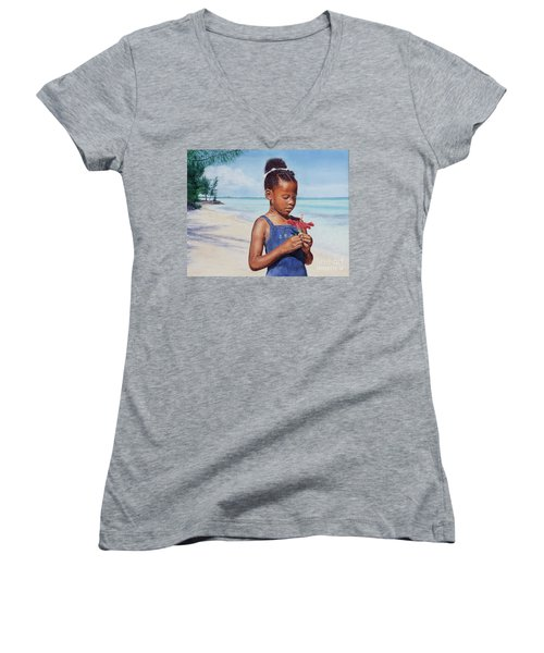 Island Flowers Women's V-Neck (Athletic Fit)
