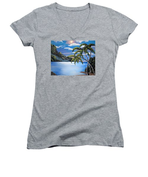 Island Night Glow Women's V-Neck T-Shirt (Junior Cut) by Luis F Rodriguez