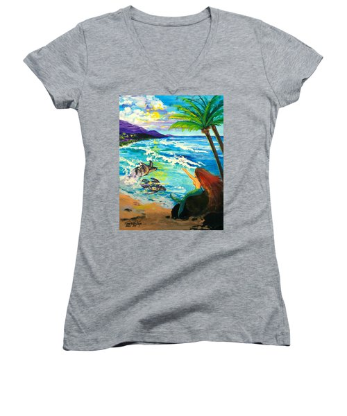 Island Sisters Women's V-Neck T-Shirt (Junior Cut) by Karon Melillo DeVega