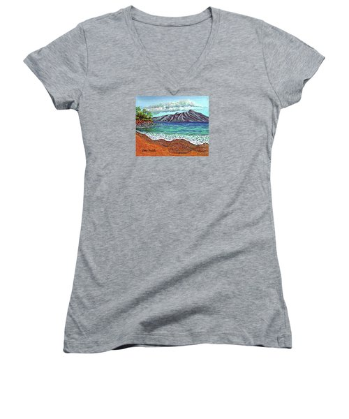 Island Time Women's V-Neck T-Shirt (Junior Cut) by Debbie Chamberlin
