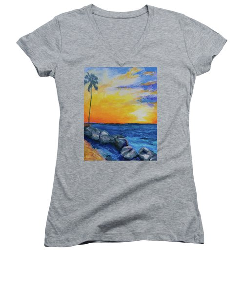 Women's V-Neck T-Shirt (Junior Cut) featuring the painting Island Time by Stephen Anderson