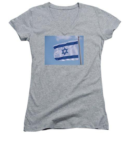 Israeli Flag In The Wind Women's V-Neck T-Shirt (Junior Cut) by Yoel Koskas