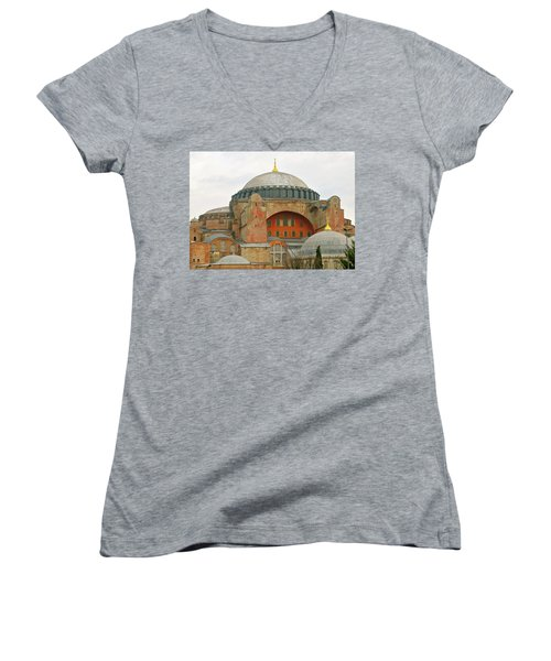Women's V-Neck T-Shirt (Junior Cut) featuring the photograph Istanbul Dome by Munir Alawi