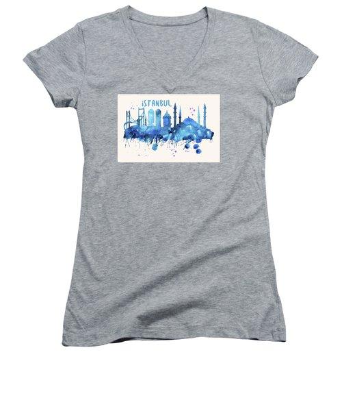 Istanbul Skyline Watercolor Poster - Cityscape Painting Artwork Women's V-Neck T-Shirt