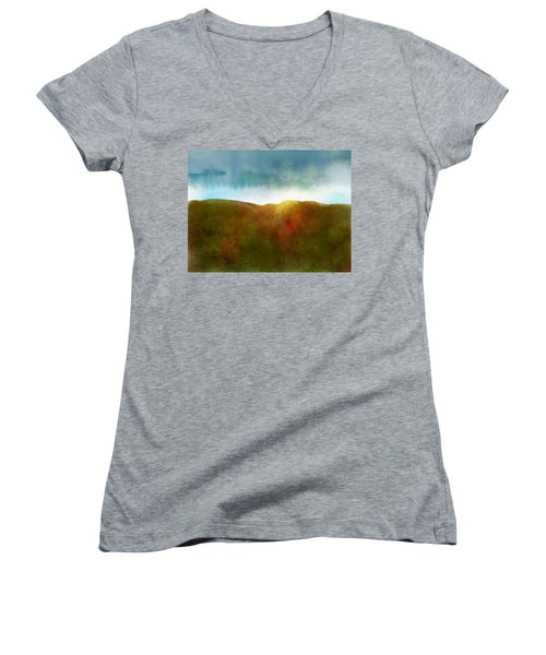 Women's V-Neck featuring the digital art It Began To Dawn by Antonio Romero