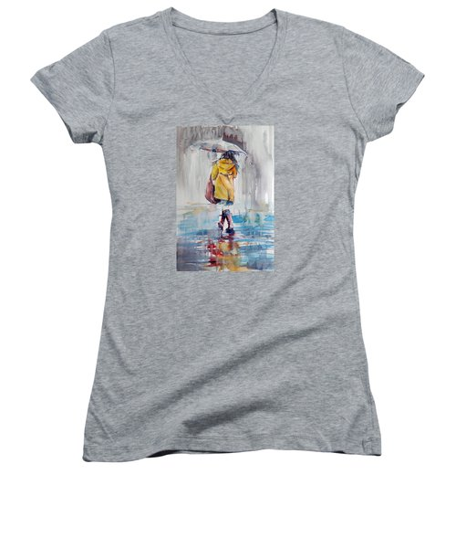 It Is Raining Women's V-Neck T-Shirt (Junior Cut)