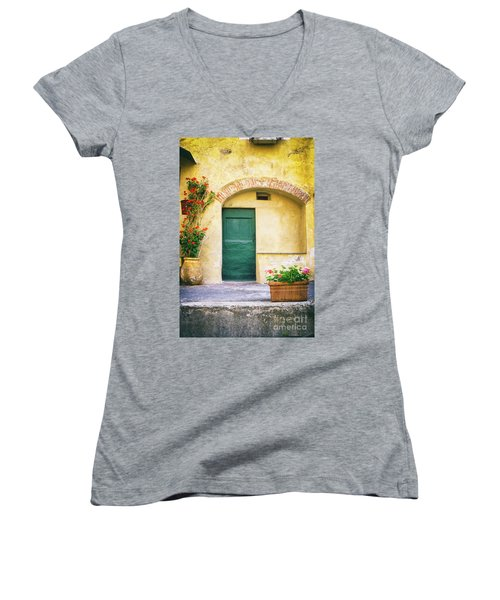Women's V-Neck T-Shirt featuring the photograph Italian Facade With Geraniums by Silvia Ganora