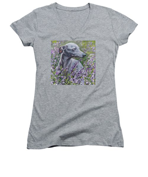 Women's V-Neck T-Shirt (Junior Cut) featuring the painting  Italian Greyhound In Flowers by Lee Ann Shepard