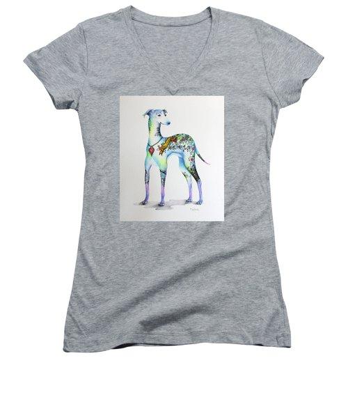 Italian Greyhound Tattoo Dog Women's V-Neck T-Shirt (Junior Cut) by Patricia Lintner