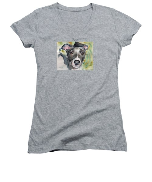 Italian Greyhound Watercolor Women's V-Neck (Athletic Fit)