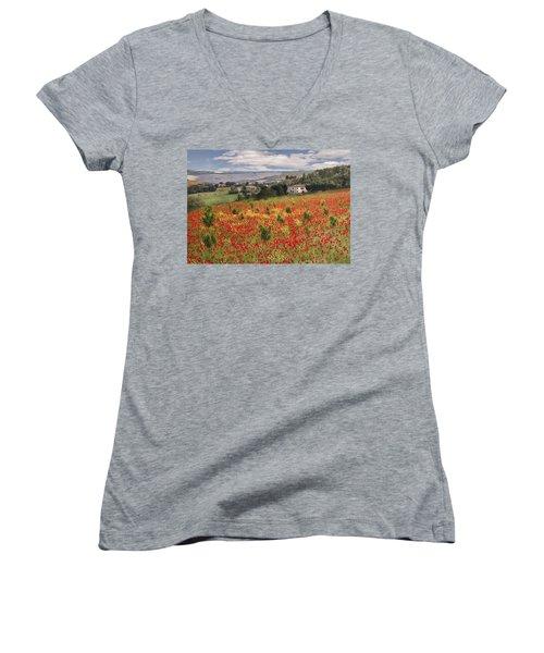 Italian Poppy Field Women's V-Neck T-Shirt